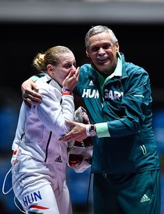 #RIO2016 Best of Day 1 - Hungary's Emese Szasz celebrates after winning the womens individual epee gold medal bout as part of the fencing event of the Rio 2016 Olympic Games...