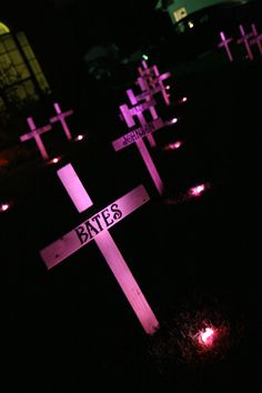 Our DIY spooky, lit graveyard crosses!