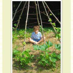 Vine teepee! Great gardening idea for children.  http://sproutsgardening.blogspot.com/2011/03/kids-february-2011.html?m=1
