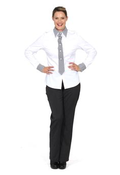 Redhead Office - Tie It Up Shirt. This cotton spandex shirt is an imaginative and interesting design featuring a button'on or off' tie feature on the centre placket of the shirt. The collar and cuffs are in a contrast stripe fabric and these are highlighted with button holes stitched in contrast colour.