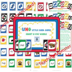 Uno-style card game for CVC words (short u edition), $