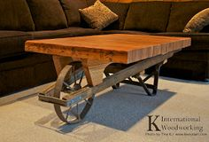 reclaimed recycled repurposed wheelbarrow bowling lane coffee table! So cute for bread and barrow @Meg Nolan