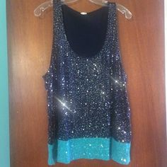 """J. Crew   Sequin Tank Pre-loved re-posh. I bought this a couple months ago and have never worn it. In excellent condition: no holes, rips, tears, or stains. Navy blue with teal hem. Clear sequins on front and back of top. Armpit to Armpit approx. 20""""   Length from shoulder to hem approx. 26""""   Size XL   100% cotton. ✅Pet/Smoke Free Home  Fast Shipping ❌ No Trades ❌ No Modeling ❌ No Holds J. Crew Tops"""