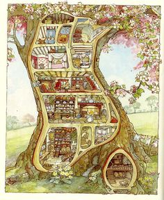 Print pigment quality art gallery on nice thick paper Perfectly resistant to light and meant to be exposed. Exceptional reproduction of the poster Treehouse, Brambly Hedge illustration of Jill Barklem - fine art gallery Beatrix Potter, Art And Illustration, Book Illustrations, Fantasy Kunst, Fantasy Art, Brambly Hedge, Art Graphique, Fine Art Gallery, Oeuvre D'art