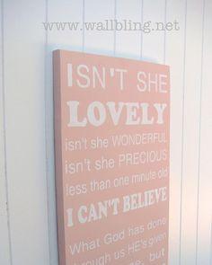 """Baby Girl Subway Art Wood Sign, """"Isnt She Lovely"""" Wall Bling contemporary nursery decor Isn't She Lovely- ByStevie Wonder New Baby Girls, My Baby Girl, Our Baby, Baby Love, Baby Kids, Baby Baby, Baby Emily, Sweet Girls, Girly Girl"""