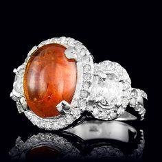 14K WHITE GOLD 8.00CT GARNET 1.76CT DIAMOND RING
