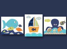 Boat fish octopus sea Nursery art baby - Nautical nursery wall art baby art Blue green orange navy- bathroom decor Set of 3 Prints
