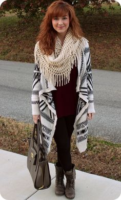 Oversized Aztec Print Cardigan, Leggings, and Combat boots. Cozy Fall or Winter Outfit.