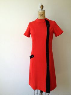vintage 60s ultimate mod red and black dress m l by vintspiration, $48.00