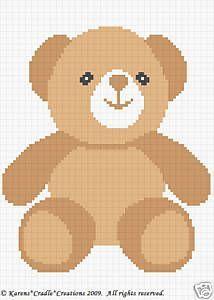 Teddy Bear Color Graph Chart Baby Afghan Pattern Easy | eBay