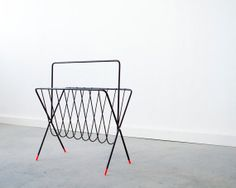 MidCentury Magazine Rack with Custom Dipped Feet by by castandcrew, $72.00