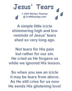 "Jesus Tears - poem that goes with handmade clear bead ""icicle"" charm"