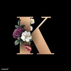 Search Free and Premium stock photos, vectors and psd mockups Floral Font, Floral Letters, Monogram Letters, Cool Alphabet Letters, Letter K Design, Molduras Vintage, Name Decorations, Alphabet Wallpaper, Elegant Flowers