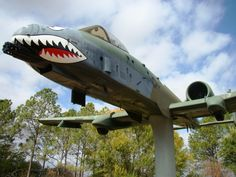 "Former England Air Force Base in Alexandria, Louisiana, and its display of an A-10 ""Warthog"" in Flying Tigers paint scheme"