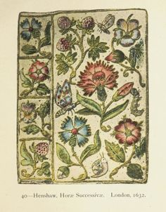 """""""Henshaw, London 1632"""" English Embroidered Bookbindings (1899) by Cyril Davenport. The English Bookman's Library."""