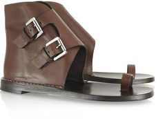 Buckled Flat Leather Sandals - Lyst