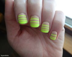 A neon/nude mani by hypnokittie inspired by one of my striping tape designs!