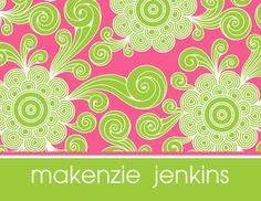 Pink and Lime Funky Floral Foldover Note Cards