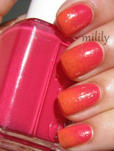 Essie Watermelon and Revlon Mad About Mango topped with Essie As Gold As It Gets