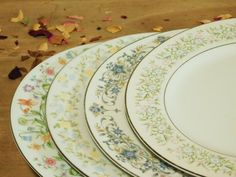 Mismatched China Dinner Plates Floral by LittleDixieVintage