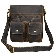 Mens Genuine Leather Messenger Bag IPad Casual Cowhide Shoulder Bag Brown1 -- You can get additional details at the image link.