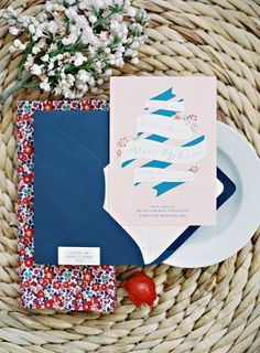 Loving this preppy wedding invitation from Chirps & Cheers. Styling by Gibson Events. Photo by Amanda Watson Photography. #wedding #invite #invitation #blue #red