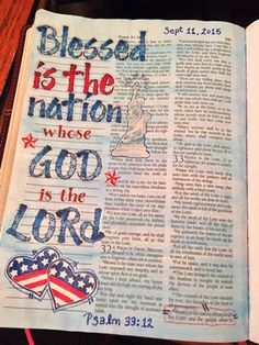 Bible Art Journaling by Teresa Psalm 33:12 Blessed is the nation whose God is the LORD, the people he chose for his inheritance.