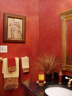 coral powder room - Google Search