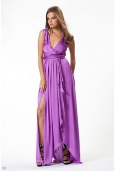 Wayne Cooper - Split front wrap gown purple. Borrow for $169 p/w