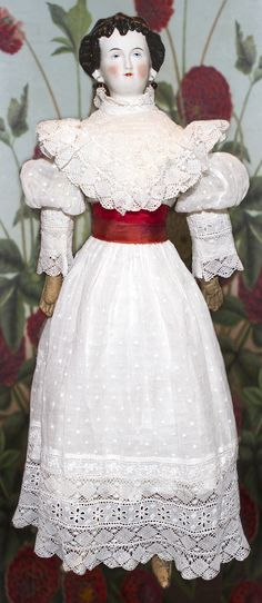 """Countess Dagmar"" 24 inch China Head Doll from abigailsattic on Ruby Lane  Dress is beautifully detailed."