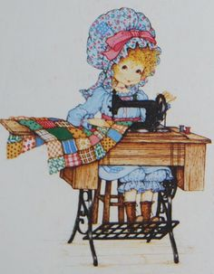 Miss Petticoat Ilustraciones Infantiles. Sewing a Quilt. Holly Hobbie, Sarah Key, Dolly Doll, Images Vintage, Madame Alexander Dolls, Sewing Art, Cute Illustration, Digital Pattern, Cute Art