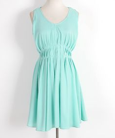 Look at this #zulilyfind! MINTYGOGO Green Pleated V-Neck Dress by MINTYGOGO #zulilyfinds