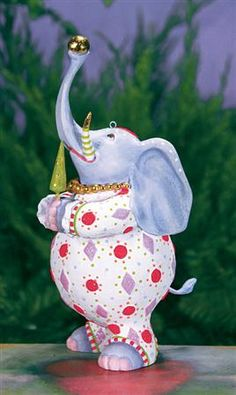 Eleanor Elephant New 2014 Patience Brewster Ornament. Krinkles.