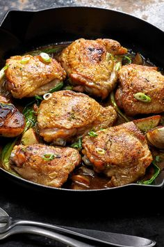 Gatlicky Chicken Thighs: 5 ingredients and the quick simmer in a rich, citrusy sauce yields an impossibly tender thigh that you wouldn't get with a simple sear Serve with rice, whole grains or with hunks of crusty bread for mopping up the leftover sauce. Chicken Thights Recipes, Chicken Recipes, Bon Appetit, Cooking Recipes, Healthy Recipes, Weeknight Recipes, Skillet Recipes, Grilling Recipes, Lime Recipes