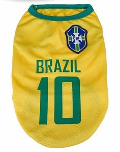 PET PARADISE Football Jerseys Pet T-shirt + Free Gift 2014 The World Cup Football Whistle Brazil Team Small (Back:10″, Chest:14″)