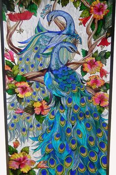 peacock stained glass pattern | ... ADORING PEACOCKS * HIBISCUS 21x41 PEACOCK ART GLASS WINDOW PANEL