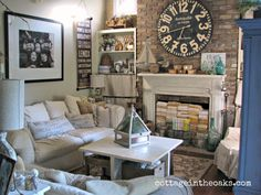 Cottage Living Room ::: Cottage in the Oaks.  Take a selfie of me and the granddaughters like this one.  Love.