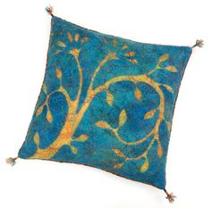 Felted cushion cover blue and yellow with flower 50 x 50 cm