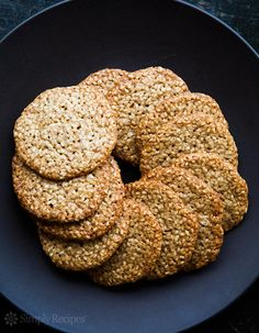 Benne Wafers ~ Traditional South Carolina benne wafers, thin, crispy, toasted sesame seed cookies. ~ SimplyRecipes.com