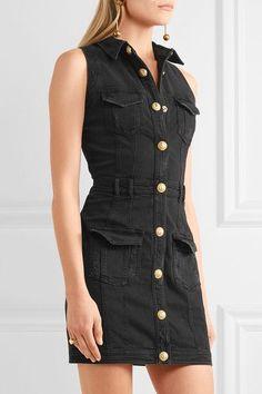 Balmain - Distressed Denim Mini Dress - Black - FR36