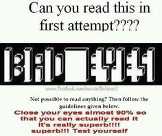 Oh my gosh guys it took me a million times to finally see it! I really don't have bad eyes.I actually have really good eyes , I think I was just doing it wrong the entire time!lol<<I saw it the first time Brain Tricks, Mind Tricks, Eye Tricks, Cool Optical Illusions, Funny Jokes, Hilarious, Brain Teasers, Mind Blown, Fun Facts