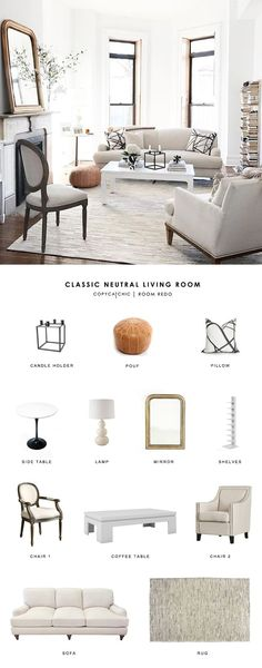 Copy Cat Chic Room Redo | Classic Neutral Living Room