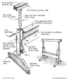 Adjustable-height sawhorse - Made from scrap pieces of plywood and short lengths of oak and 2x4 stock, these horses are light, sturdy, and easy to use. I suggest boring the holes in the oak posts on a drill press to eliminate concerns about keeping the holes straight. I also used the drill press to bore holes in the column sides, stacking them together to ensure exact alignment. The inside dimension of the columns should be about 1/16 in. greater than the cross-sectional dimension of the…