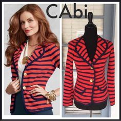 """⚓️CAbi Red/Blue Striped Blazer Size XS ⚓️NWOT!!! Adorable CAbi Yacht Club Blazer. Red and Navy blue stripes. Two gold anchor buttons. Two front pockets (Not actual pockets) Made of 100% Cotton. Pic of model taken from Pinterest. Measurements are as follows: Length 24"""" Bust 16"""" laying flat (32"""") length of sleeves is 23"""" CAbi Jackets & Coats Blazers"""