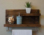 "Modern Rustic 2 Tier Bathroom Shelf with 18"" Satin Nickel Finish Towel Bar"