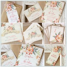 Apricot Floral Wedding Stationery Collection by Sunshine and Ravioli. With watercolor accents in shades of peachy coral and aqua blue, this fun invitation suite is available at:  http://sunshineandravioli.etsy.com