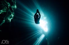 ... Light & Shadows ... Freediving the Cenotes of the Yucatan Peninsula, Mexico. Photo taken on one breath by Christina Saenz de Santamaria. #freediving #cenotes #underwater #photography #Mexico #1ocean1breath #oneoceanonebreath