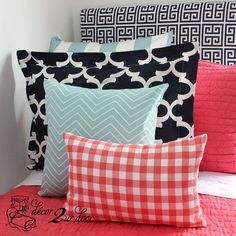 Dorm Décor and More! Available in all bed sizes: twin, full/queen, and king. Custom pillows, exclusive bed scarf, window panels, wall art, bed skirts, and custom monogramming! Custom-made designer bedding and accessories.
