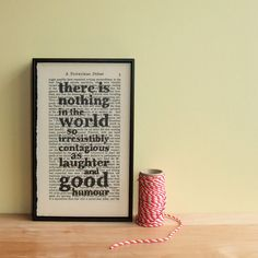 Charles Dickens Quote on framed vintage book page - laughter and good humour