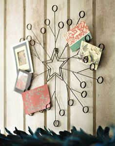 Tag holiday metal spiral wreath greeting card - Christmas card wall holder ...